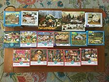 LOT OF 16 CHARLES WYSOCKI AMERICANA JIGSAW PUZZLES SMALL TOWN CHRISTMAS CATS +