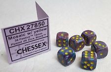DICE- 12mm CHX ~FESTIVE MOSAIC w/YELLOW PIPS~ 6 EACH - NEW COLOR IN SMALL SIZE!