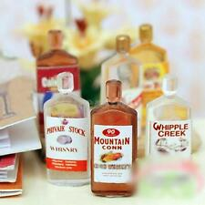 6pcs Cute Miniature Wine Whisky Bottle for DOLLHOUSE Miniatures 1/12 Scale