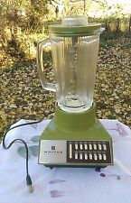Vintage Waring Model 11-299 Avocado Green 14-Speed Blender with Ribbed Glass