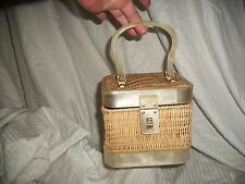 Vintage Natural Wicker BOX PURSE  Pearl Lucite Banded Very Sweet 1960's