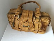 Lockheart Mustard Yellow Leather Woven Satchel Shoulder Handbag Purse