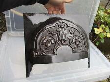 Fuego de hierro fundido antiguos Campana de Chimenea Negro Vintage Antiguo Dorado Hoja de estilo Art Nouveau