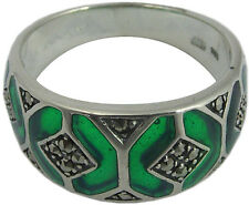 RING WITH GREEN ENAMEL & MARCASITE 925 SILVER HALLMARKED NEW FROM ARI D NORMAN