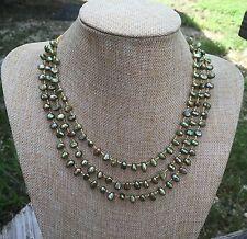 Triple Strand Olive Green Freshwater Pearl Handmade Necklace & Matching Bracelet