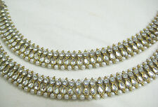 Designer Antique Gold Tone / Plated Kundan Anklet / Payal With Pearl & Stone
