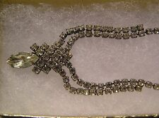 "Vintage RUNWAY Rhinestone 16"" Necklace with Large Marquise Stone"