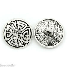 30PCs Metal Pattern Sewing Buttons Silver Tone Round 17mm