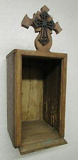 Primitive Reclaimed Wood Nicho #3-Mexican-10x23x9-Rustic-Old Door Panels-Wooden