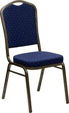 HERCULES Series Crown Back Stacking Banquet Chair w/Navy Blue Patterned Fabric