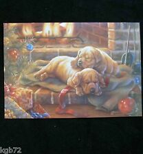 Leanin Tree Christmas Greeting Card Puppies by Fireplace Multi Color C34