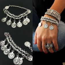 Silver Tribal Ethnic Coin Tassel Gypsy Festival Turkish Anklet Bracelet Jewelry
