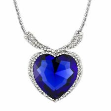 Valentines Day Love Gift Heart of Ocean Titanic Blue Crystal Pendent Necklace