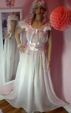 ��SHEER SUGAR PINK NYLON FLOWING SISSY MAID BRIDE BABY DOLL/NEGLIGEE/DRESS