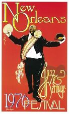 1976 NEW ORLEANS JAZZ  FESTIVAL POST CARD OF FATS HOUSTON - GRAND MARSHAL