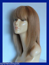 100% real human hair lady wig medium golden brown & honey blonde 10/16#