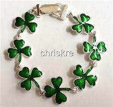 Silver Shamrock Bracelet Irish Pride Green Enamel Celtic St. Patricks Day USA