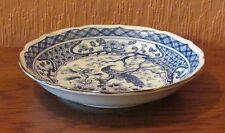 Giapponese Blu & Bianco smerlato in stampo in porcellana con pavone.