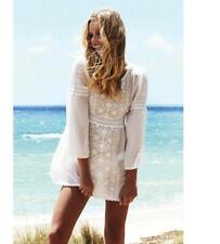 Melissa Odabash White Embroidered Kaftan Dress M  Coverup