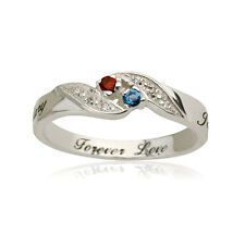 Personalized Engraved Promise Ring Engagement Ring with birthstones - 925 silver