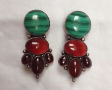 Sterling Silver hm London 1973 large malachite & agate clip earrings spectacular