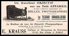 Publicité KRAUSS - ZEISS LE TESSAR  appareil photo vintage  ad  1907 -5i