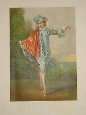 GRANDE LITHO COULEUR WATEAU PORTRAIT DANSEUSE DANSE MUSIQUE COSTUME BALLET 1870