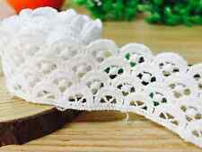 2yd Vintage Cotton Crochet Lace Trim White Ribbon Wedding Dress Decoration Craft