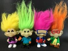 Set Of 4 Burger King Kids Club Glow in the Dark Troll Dolls 1993 5G