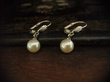 Vintage Style Pearl Drop Silver Hook Pierced Earrings Free Postage