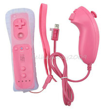 Manette Wiimote Remote + Nunchuck / Nunchuk + Housse Pour Nintendo Wii Game ROSE
