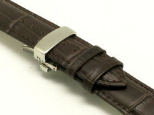 21mm Dark Brown Leather Watch Band Push Button Clasp Made For Citizen 21