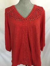LUCKY BRAND Orange Crochet Lace Tunic Top XL Womens