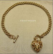 """NEW GOLD FILIGREE PUFF HEART THIN CHAIN LINK 7.5"""" TOGGLE BRACELET"""