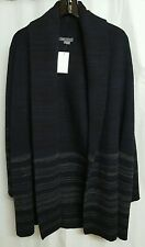 VINCE SMALL VARIEGATED BLANKET CARDIGAN SWEATER COAT BLACK BLUE GREY NWT $445