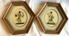 Two Petit Point Framed Pictures - Japanese couple in greens - 6 sided frame(87)