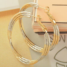 Gorgeous 9K Solid Gold Filled 2-Tone Womens Hoop Earrings,Z1802