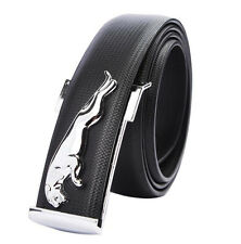 Mens Leather Silver Leopard Buckle Casual Dress Belt Waistband