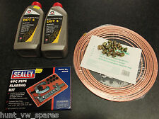 COPPER BRAKE PIPE KIT +NUTS 3/16 & BRAKE FLUID DOT4  2LITRES COMMA &FLARING TOOL