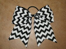 "NEW ""CHEVRON Black"" Cheer Bow Pony Tail 3 Inch Ribbon Girls Hair Cheerleading"