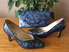 Ladies Renata petrol blue pearl all leather court shoes UK 6 & matching bag set
