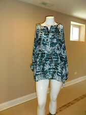 Apt.9 women's plus Half Zipper Blouse Long sleeves Turquoise snake print 3X NEW