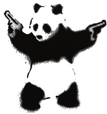 COOL PANDA WITH GUNS FUNNY DECAL STICKER WALL CAR VAN BIKE