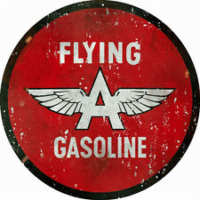 Round Flying A Gasoline Service Station Sign