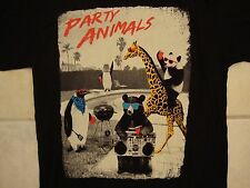 Riot Society Party Animals Cute Funny Penguin Bear Panda Giraffe Black T Shirt S