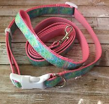 Lilly Pulitzer Dog Collar And Leash Set In Sky Blue Heaven Print