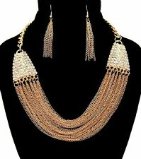 Bling Rhinestone MULTI-CHAIN DRAPE Statement Gold Necklace & Earrings Set