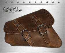 La Rosa Rustic Brown Leather Cross Lace HD Sportster 1200 883 48 Left Saddle Bag
