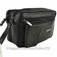 NEW Gents Black Leather Handy Wrist Bag Travel Man by LORENZ Useful Utility Gift