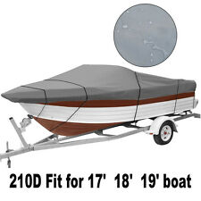 """17-19 Ft 210D Heavy Duty Fabric Waterproof Trailable Boat Cover V-Hull 95"""" Beam"""